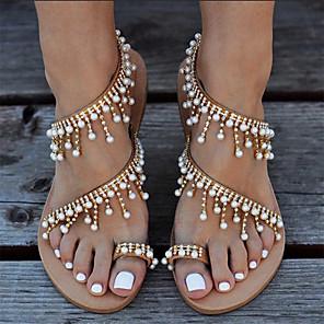 cheap Women's Sandals-Women's Sandals Flat Sandal Tropezienne Sandals Summer Flat Heel Open Toe Boho Daily Beach PU Gold