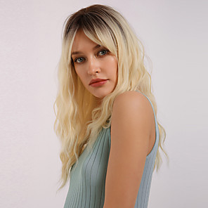 cheap Synthetic Trendy Wigs-Synthetic Wig Bangs Wavy Water Wave Side Part With Bangs Wig Long Light Blonde Golden Blonde#16 Synthetic Hair 22 inch Women's Cosplay Women Synthetic Blonde Ombre BLONDE UNICORN / Ombre Hair