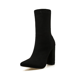 cheap Women's Boots-Women's Boots Winter Pumps Pointed Toe Basic Roman Shoes Daily Solid Colored Suede Mid-Calf Boots Black