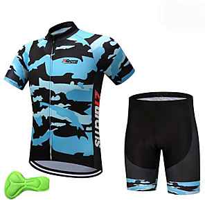 cheap Cycling Jersey & Shorts / Pants Sets-Fastcute Boys' Short Sleeve Cycling Jersey with Shorts - Kid's Lycra Navy Blue Camo Bike Clothing Suit Breathable Quick Dry Anatomic Design Moisture Wicking Sports Camo Mountain Bike MTB Road Bike