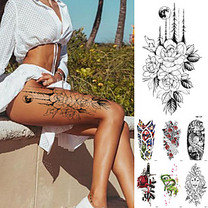 cheap Tattoo Stickers-10 pcs Temporary Tattoos Waterproof Temporary Tattoo Sticker Flower Rose Flash Tattoos Lalash Tattoos Snake Lion Body Art Arm Fake Sleeve Tatoo Women XQB01-10 XQB11-20