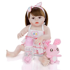 cheap Stuffed Animals-KEIUMI 19 inch Reborn Doll Baby & Toddler Toy Reborn Toddler Doll Baby Girl Gift Cute Washable Lovely Parent-Child Interaction Full Body Silicone 19D15-C352-T21 with Clothes and Accessories for