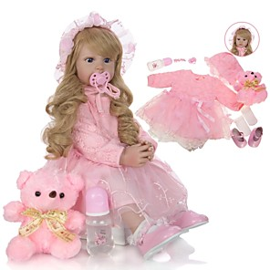 cheap Dolls Accessories-KEIUMI 24 inch Reborn Doll Baby & Toddler Toy Reborn Toddler Doll Baby Girl Gift Cute Lovely Parent-Child Interaction Tipped and Sealed Nails Half Silicone and Cloth Body with Clothes and Accessories