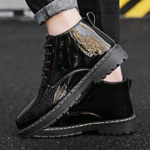 cheap Men's Boots-Men's Summer / Fall Vintage / British Daily Boots PU Breathable Wear Proof Wine / Black