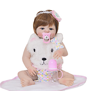 cheap Reborn Doll-KEIUMI 22 inch Reborn Doll Baby & Toddler Toy Reborn Toddler Doll Baby Girl Gift Cute Washable Lovely Parent-Child Interaction Full Body Silicone 23D03-C128-H31 with Clothes and Accessories for
