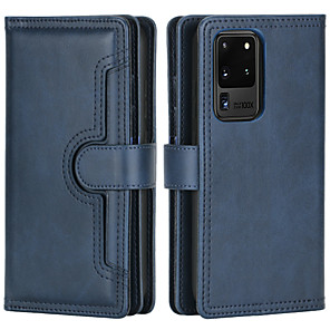 cheap Samsung Case-Case For Samsung Galaxy Galaxy S10 S20 S10plus S20plus S20Urtal Note 10 10plus Card Holder Flip Magnetic Full Body Cases Solid Colored PU Leather