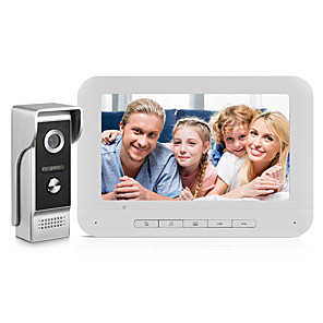 cheap Video Door Phone Systems-Visual Intercom Doorbell 7'' TFT LCD Wired Video Door Phone System Indoor Monitor 700TVL Outdoor IR Camera Support Unlock