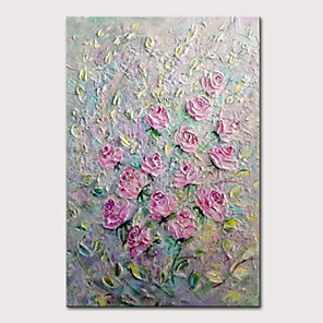 cheap Floral/Botanical Paintings-Mintura Hand Painted Modern Abstract Knife Flowers Oil Paintings on Canvas Wall Picture Pop Art Posters For Home Decoration Ready To Hang
