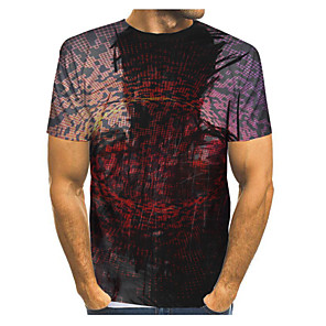 cheap Latin Dancewear-Men's Plus Size T-shirt Graphic Print Tops Street chic Exaggerated Round Neck White Black Blue / Short Sleeve / Summer
