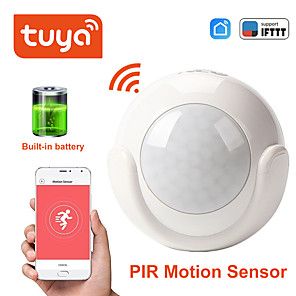 cheap Security Sensors-Mini WIFI PIR Motion Sensor built-in battery Hole-free installation Human Body Sensor Body Wireless Infrared Detector