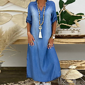 cheap Women's Heels-Women's Denim Dress Maxi long Dress - Half Sleeve Summer V Neck Plus Size Casual 100% Cotton Loose 2020 Blue M L XL XXL XXXL