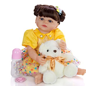 cheap Reborn Doll-KEIUMI 22 inch Reborn Doll Baby & Toddler Toy Reborn Toddler Doll Baby Girl Gift Cute Washable Lovely Parent-Child Interaction Full Body Silicone 22D05-C150-H122-T13 with Clothes and Accessories for