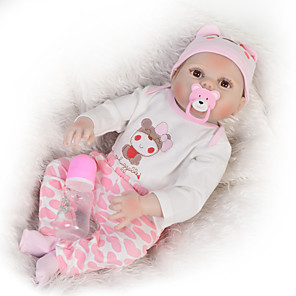 cheap Reborn Doll-KEIUMI 22 inch Reborn Doll Baby & Toddler Toy Reborn Toddler Doll Baby Girl Gift Cute Washable Lovely Parent-Child Interaction Full Body Silicone 23D25-C176-S07-T05 with Clothes and Accessories for