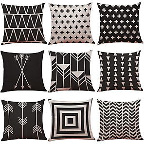 cheap Throw Pillow Covers-1 Set of 9 Geometric Lines Series  Decorative Linen Throw Pillow Cover 18 x 18 inches 45 x 45 cm