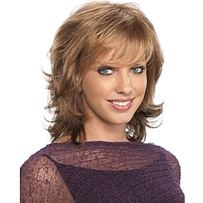 cheap Synthetic Trendy Wigs-Synthetic Wig kinky Straight With Bangs Wig Medium Length Brown Synthetic Hair 12 inch Women's New Arrival Fashion Exquisite Brown