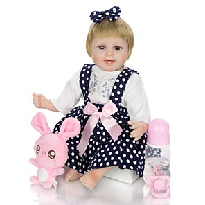 cheap RC Cars-KEIUMI 18 inch Reborn Doll Baby & Toddler Toy Reborn Toddler Doll Baby Girl Gift Cute Lovely Parent-Child Interaction Tipped and Sealed Nails Half Silicone and Cloth Body with Clothes and Accessories