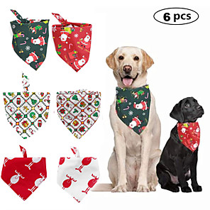 cheap Dog Clothes-Dog Cat Bandanas & Hats Dog Bandana Dog Bibs Scarf Cartoon Christmas Party Cute Christmas Party Dog Clothes Adjustable Costume Polyster L