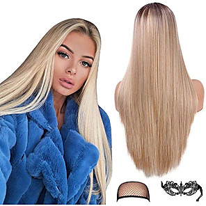 cheap Synthetic Lace Wigs-Synthetic Wig kinky Straight Middle Part Wig Long Light Blonde Synthetic Hair 22 inch Women's New Arrival Middle Part Waterfall Blonde