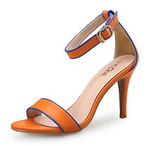 cheap Women's Sandals-Women's Sandals Spring Fall Pumps Open Toe Office & Career Home Leather Black / Orange