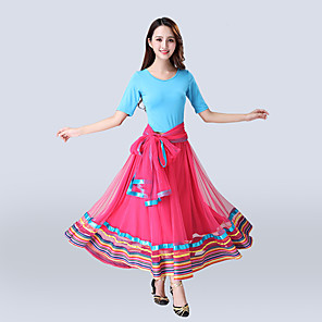 cheap Ballroom Dancewear-Ballroom Dance Skirts Pleats Women's Training Performance Short Sleeve High Polyester