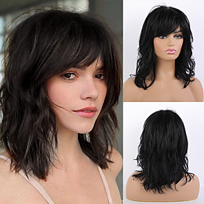 cheap Synthetic Trendy Wigs-Remy Human Hair Wig Long Natural Wave Layered Haircut Asymmetrical Side Part With Bangs Black Women Fashion Natural Hairline Capless Women's All Natural Black #1B 16 inch