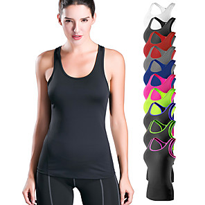 cheap Facial Care Devices-YUERLIAN Women's Running Tank Top Racerback White Black Red Blue Pink Spandex Yoga Fitness Gym Workout Vest / Gilet Base Layer Tank Top Sport Activewear Lightweight Breathable Quick Dry Compression