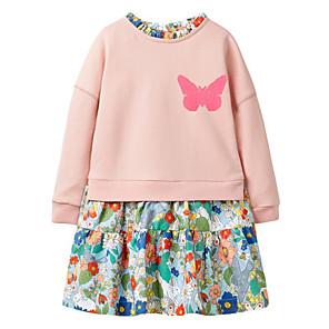 cheap Historical & Vintage Costumes-Toddler Girls' Floral Long Sleeve Dress Blushing Pink