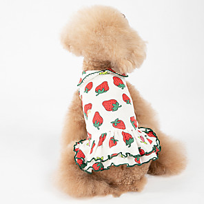 cheap Dog Clothes-Dog Dress Pajamas Floral Botanical Casual / Sporty Cute Party Casual / Daily Dog Clothes Warm Red Costume Cotton XXXS XXS XS S M L