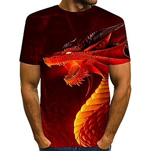 cheap LED String Lights-Men's Daily T-shirt Graphic Animal Print Short Sleeve Tops Streetwear Round Neck Blue Red
