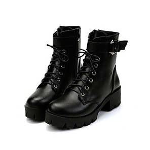 cheap Women's Boots-Women's Boots Fall Cuban Heel Round Toe Daily PU Black