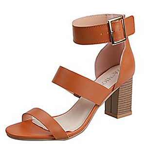 cheap Women's Sandals-Women's Sandals Summer Block Heel Open Toe Casual Daily Solid Colored PU White / Black / Brown
