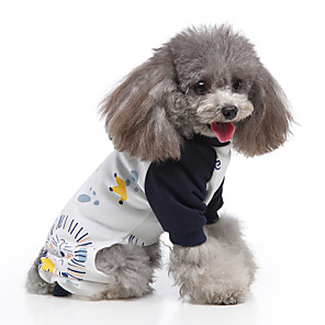 cheap Dog Clothes-Dog Jumpsuit Pajamas Cartoon Casual / Sporty Cute Casual / Daily Weekend Dog Clothes Warm White Black Yellow Costume Polyester XS S M L XL