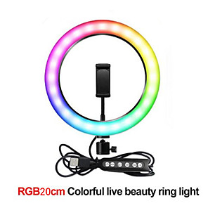 cheap Bookshelf Speakers-Full Color RGB20cm Fill Light Self Photography Live Led Colorful Ring Lamp Color