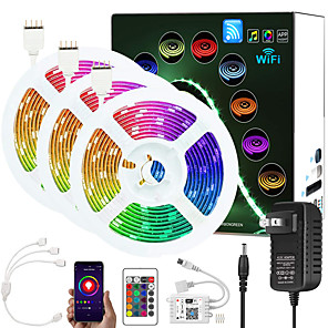 cheap LED Strip Lights-ZDM Upgraded 50ft (3*5M) App Intelligent Control Led Strip Lights IR 24 Key WIFI Controller 5050 RGB LED Soft light strip with Adapter Kit DC12V