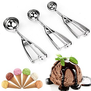 cheap Drinkware-Ice Cream Scoops and Watermelon Fruit Ball Scoops 3Pcs with Different Sizes and Stainless Steel Spring Handle