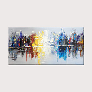 cheap Abstract Paintings-Hand-Painted Urban Landscape Modern Oil Painting Sail Reflection Abstract Wall Art Decoration