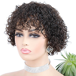 cheap Synthetic Trendy Wigs-Remy Human Hair Wig Short Jerry Curl Pixie Cut Natural Hot Sale For Black Women Machine Made Brazilian Hair Women's Natural Black #1B 10 inch 12 inch 14 inch