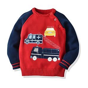 cheap Women's Sandals-Kids Boys' Basic Color Block Long Sleeve Sweater & Cardigan Blue