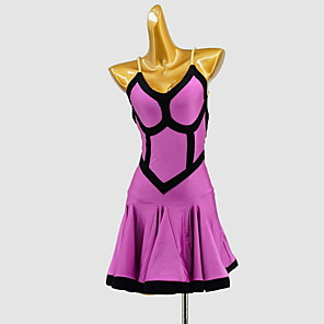 cheap Latin Dancewear-Latin Dance Dress Split Joint Women's Training Daily Wear Sleeveless Polyester