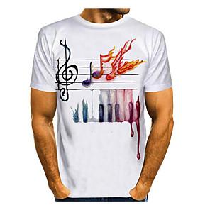 cheap Cycling Jerseys-Men's T-shirt Graphic Print Tops Basic Round Neck White / Short Sleeve