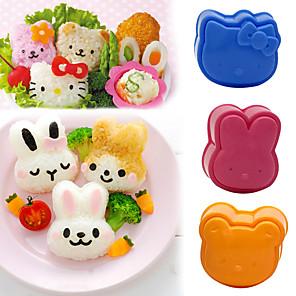 cheap novelty kitchen tools-3D Cartoon Sushi Maker Children Rice Ball Mould Sandwich DIY Tool Kitchen Accessories 3Pcs Cute Roll Mold