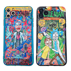 cheap Everyday Cosplay Anime Hoodies & T-Shirts-Case For Apple iPhone 11 / iPhone 11 Pro / iPhone 11 Pro Max Shockproof / IMD / Rick and Morty Pattern Back Cover Cartoon / Skull PC