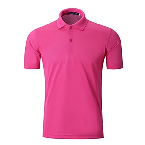 cheap Golf, Tennis & Badminton-Men's Golf Polo Shirts Short Sleeve Breathable Quick Dry Soft Athleisure Outdoor Summer Cotton White Black Purple Yellow Red / Stretchy