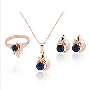cheap Jewelry Sets-Women's Bridal Jewelry Sets Earrings Jewelry Dark Blue For Wedding Party Daily Engagement Festival 1 set