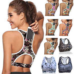 cheap Exercise, Fitness & Yoga Clothing-Women's Sports Bra Medium Support Racerback Back Pocket Print Forest Green White Black Yellow Red Mesh Spandex Yoga Fitness Gym Workout Bra Top Sport Activewear Breathable Comfort High Impact Quick