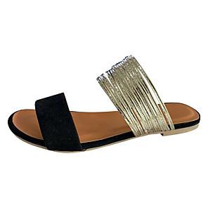 cheap Women's Sandals-Women's Slippers & Flip-Flops Summer Flat Heel Open Toe Casual Daily PU White / Black / Pink