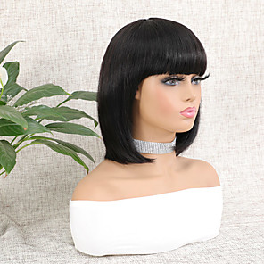 cheap Synthetic Trendy Wigs-Wig Short Natural Straight Bob Natural Best Quality Hot Sale Capless Brazilian Hair Women's Natural Black #1B 8 inch 10 inch 12 inch