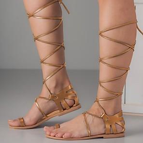 cheap Women's Sandals-Women's Sandals Roman Shoes / Gladiator Sandals Summer Flat Heel Open Toe Daily PU Dark Grey / Almond / Black