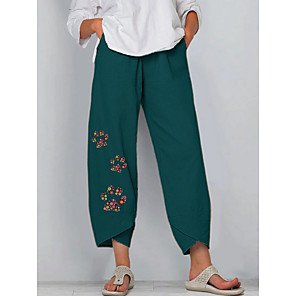 cheap Women's Boots-Women's Basic Loose Chinos Pants Floral Blue Khaki Green S M L