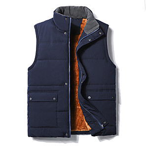cheap Softshell, Fleece & Hiking Jackets-Men's Hiking Gilet Winter Outdoor Thermal / Warm Windproof Breathable Soft Top Fleece Camping / Hiking Hunting Fishing Black / Grey / Dark Blue